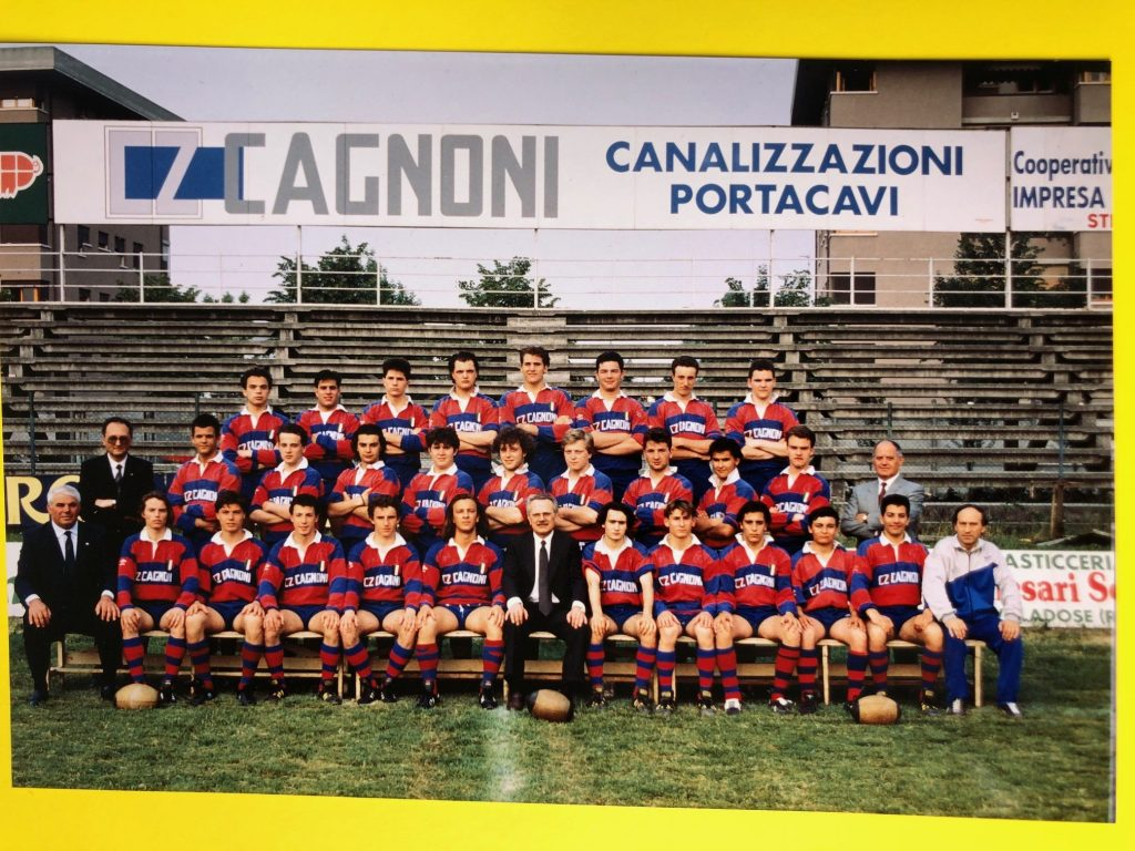 "Briciola ""Briciola"" with the 1989-90 Italian rugby junior championship winners. The same team won in the 1987-88 and 1988-89 seasons. ""Briciola"" sits on the bench in the first raw, the third from the right."